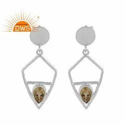 Designer 925 Silver Natural Citrine Gemstone Earrings