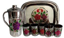 New Flower Jug Glass Tray Set