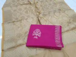 Cotton Ethnic Wear Block Print Kurta With Banarasi Dupatta