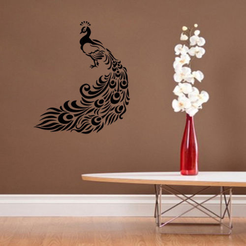 Black With Brown Base And PVC Sticker Sheet Peacock Wall Sticker