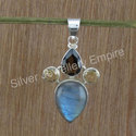 Smoky and Labradorite Nice Gemstone Handmade Jewelry Pendant