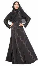 Women's Black Color Umbrella Style High Quality Plain Lycra Abaya Burkha With Dupatta