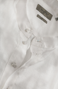 White Linen French Collar Half Open Linen Shirt