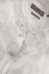 White French Collar Half Open Linen Shirt