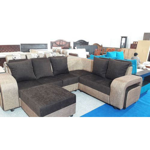 5 Seater Wood Fabric Corner Sofa Set