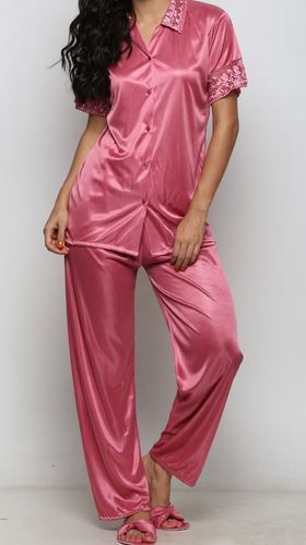 f259cdc88fb Ladies Satin Pink Plain Night Suit