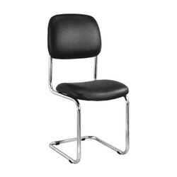 Black Leather Visitor Chair without Arm