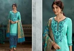 Embroidered silk Patiala Suits