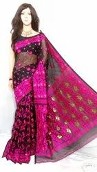 Cotton silk embroidery work jamdani saree