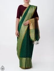 Pure Handloom Bengal Linen Saree with Hand Block Prints
