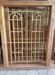 Arch Wooden Teak Window With Shutter, Dimension/Size: 4x3