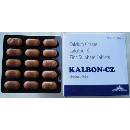 Kalbon-cz Calcium Citrate, Calcitriol & Zinc Tablets, Packaging Type: Box