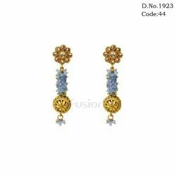 Traditional Antique Crystal Beads Delicate Hanging Earrings