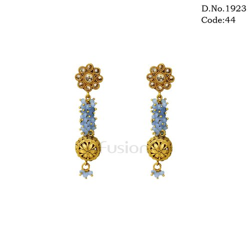 640d9b345 Fusion Party Wear Traditional Antique Crystal Beads Delicate Hanging  Earrings