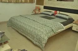 Plain Cotton Bedsheet with Digital Dohar Set