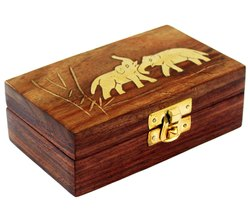 Handmade Wooden Jewellery Box for Women Jewel Organizer Elephant Charm Gift Item