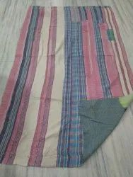 Checked and Plain Vintage Kantha Quilt