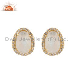 Oval Shape Gold Plated Silver CZ Rainbow Moonstone Stud Earring