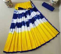 Shibori Hand Printed Cotton Saree