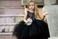 Imported Fabric Kids Dress Party Wear Black Baby Gown, Size: Small
