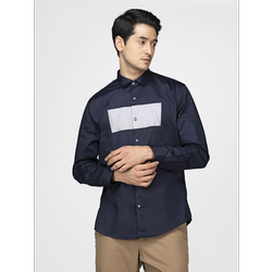 Green Hill Men''s Designer Navy Blue Grey  Shirt