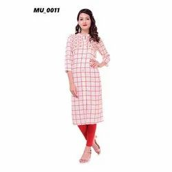 Check A-Line Ladies Kurti