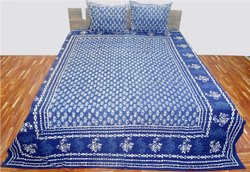 Indigo Printed Bed Sheet