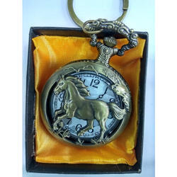 Round Analog Horse Watch Keychain