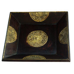 Rawsome shack Wooden And Brass Tray Set