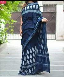 Bagru Indigo Hand Block Print Cotton Mulmul Saree