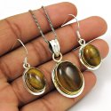 925 Sterling Silver Quartz Pendant Earrings And Ring Set