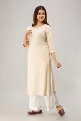Round Neck Machine Wash Rayon Embroidered Ladies Kurti