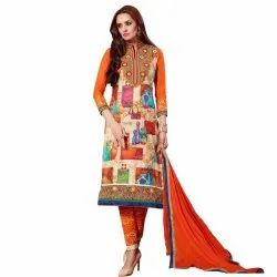 Cream and Orange Coloured Unstitched  Salwar Suit