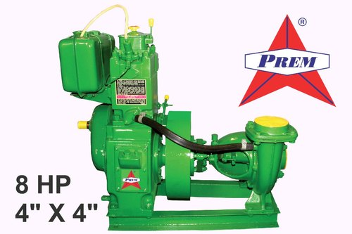 Prem 8 HP Diesel Engine Pump Set, 4' x4' , Water Cooled