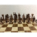 15 Brass Roman Flat Wood Chess Board