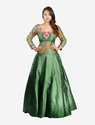 Green Embroidered Waist Panel And Sleeves Gown, Size: 38