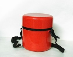 Red Plastic Insulated Lunch Box, For Office, Capacity: 600 Ml