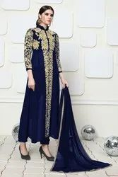 Blue Normal Salwar Tripta - Faux Georgette Embroidery Semi Stitched Suit Set, Size: Up To 44 Inch