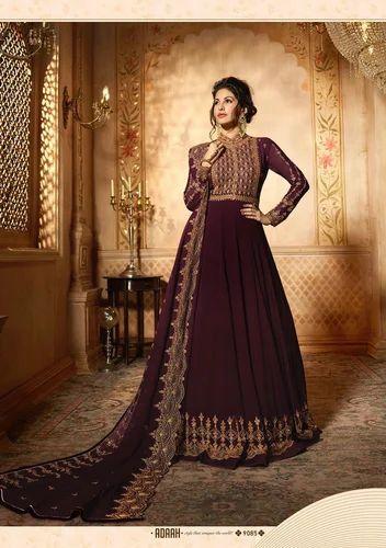 f65735f9c6e Pure Georgette Wine Color Embroidered Anarkali Suit
