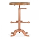 Metal-bar-stool With Wooden-tractor-seat-(copper Finish),adjustable Height Bar Stool