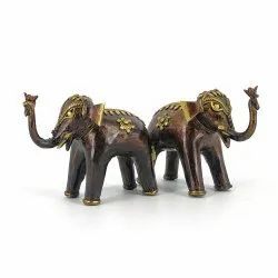 Shambhavi Creations Golden Hand Crafted Brass Elephant
