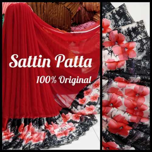 51aaab05c6 Georgette Satin Patta Saree, Length: 6.3 M (With Blouse Piece), Rs ...