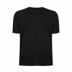 Half Sleeves Black Casual Plain T Shirt, Size: L
