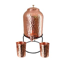 MSC Misaa Copper Jointless Hammered Dispenser 5 Liter Combo With Iron Stand