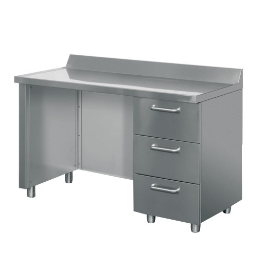 3 Drawers Rectangular Stainless Steel Office Table