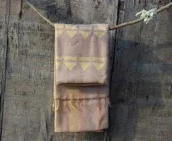 Ruaab SEWA Beige Handwoven Cotton-Silk Saree