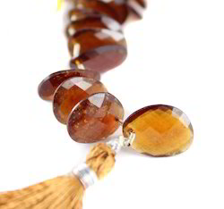 Hessonite Garnet Fancy Faceted Oval Stone Beads