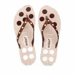 Women Beige Brown PVC Fashion Slippers