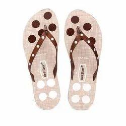 Women Beige Brown PVC Fashion Slippers