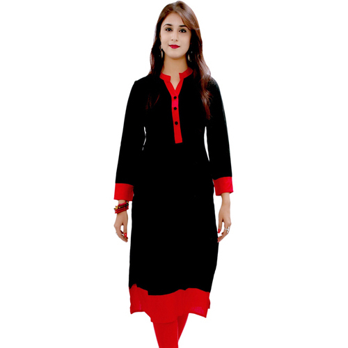 Stand Collar Neck Designs For Kurtis : Large xxl black ladies stand collar neck cotton kurti